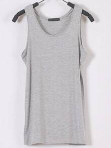 Scoop Neck Slim Grey Tank Top