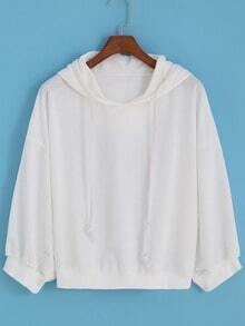 Hooded Drawstring Loose White Sweatshirt