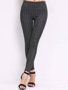 Elastic Waist Vertical Striped Slim Leggings