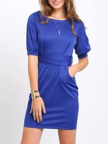 Half Sleeve Careers With Belt Slim Blues Colbalt Dress