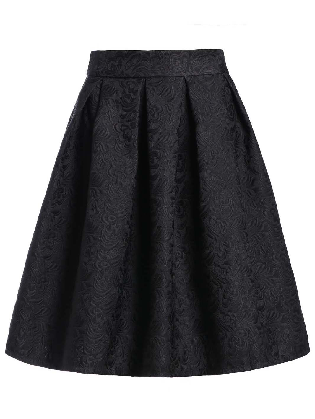 Jacquard Box Pleated Skirt