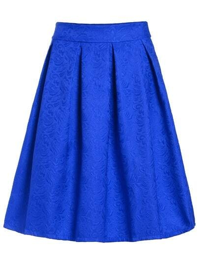 Jacquard Blue Midi Skirt