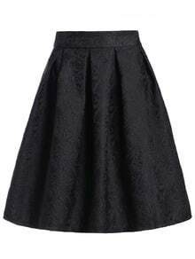 Jacquard Black Midi Skirt