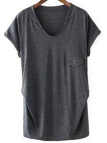 V Neck With Pocket Loose T-shirt