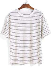 Striped Loose White T-shirt