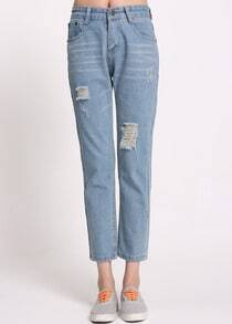 Ripped Denim Light Blue Pant