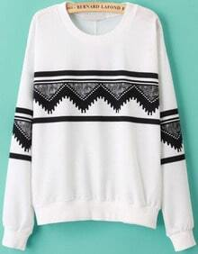 Round Neck Patterns Geometric Print Sweatshirt