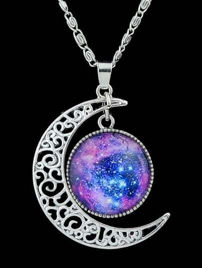 Purple Gemstone Hollow Moon Necklace