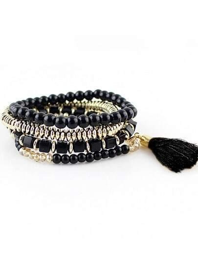 Black Bead Bohemian Bracelet pictures
