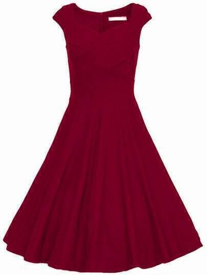 Burgandy Heart Shape Collar Puffball Sleeveless Red Dress
