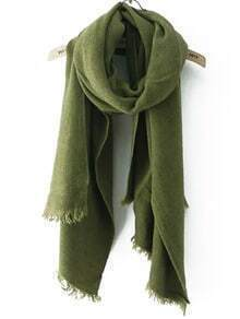 Frayed Army Green Scarf