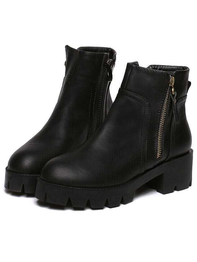Black Chunky Heel Zipper Boots -SheIn(Sheinside)