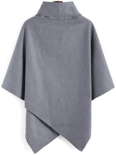 Turtleneck Woolen Asymmetrical Cape Grey Coat