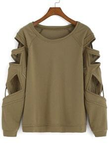 Bat Sleeve Hollow Green T-shirt
