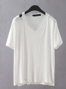 V Neck Dip Hem Hollow White T-shirt