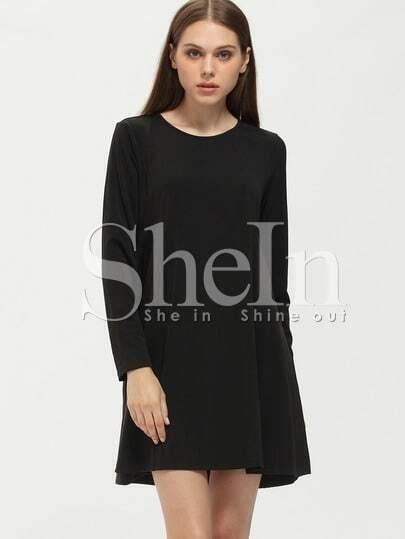 Black Long Sleeve Casual Dress