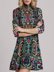 Multicolor Antique Mock Neck Allure Decent Long Sleeve Vintage Print Dress