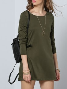 Army Pullover Green Long Sleeve Casual Dress