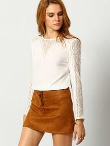 Beige Long Sleeve With Lace Blouse