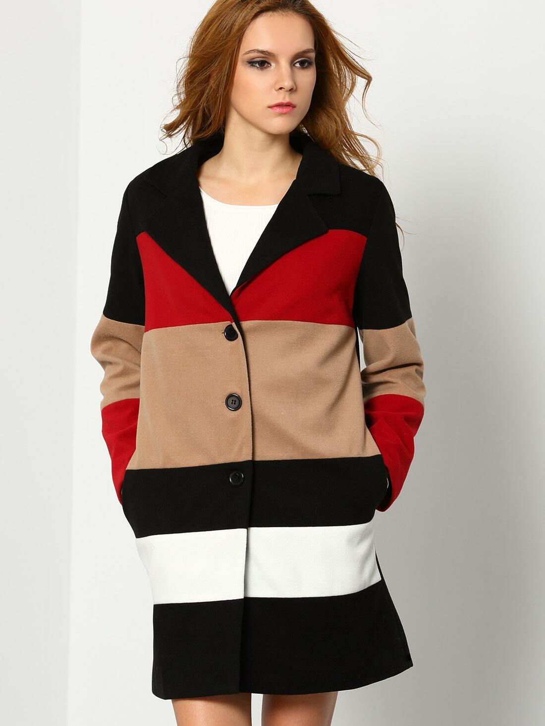 Black Long Sleeve Color Block Coat