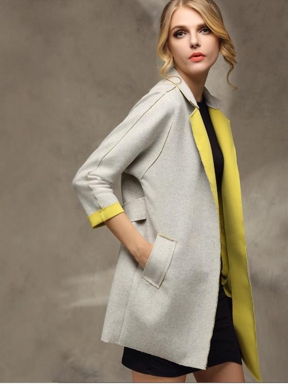 Yellow Stand Collar Self-Tie Coat