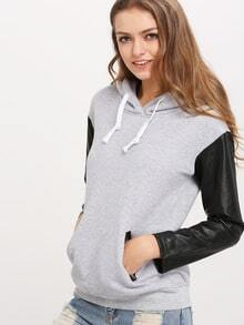 Grey Hooded Contrast PU Leather Zipper Sweatshirt
