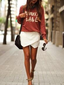 Red Long Sleeve Letters Print Casual Sweatshirt