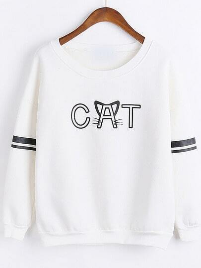 White Round Neck CAT Print Casual Sweatshirt