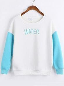 Colour-block Round Neck WATER Print Sweatshirt