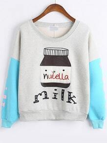 Grey Blue Round Neck Milk Bottle Print Sweatshirt