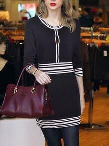 Black Long Sleeve Striped Bodycon Dress