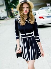 Blue Navy Slate Hipster Collar Striped Pleated Dress