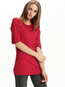 Wine Red Cheesecloth Round Neck Straight Loose Dress