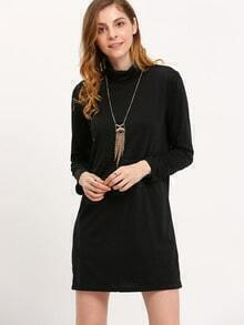 Black High Neck Long Sleeve Slim Dress