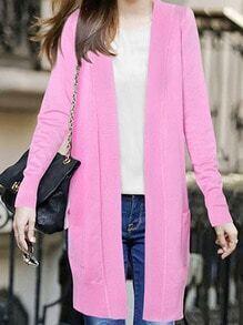 Pink Long Sleeve Pockets Knit Cardigan