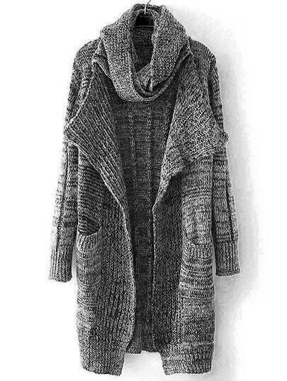 Grey Shawl Collar Pockets Knit Cardigan