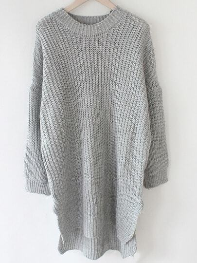 Grey Round Neck Batwing Sleeve Split Sweater