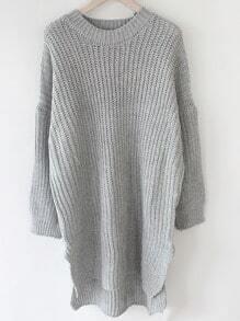 Grey Round Neck Batwing Sleeve Split Sweater
