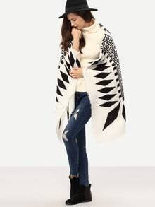 Black White Geometric Print Cape Scarve