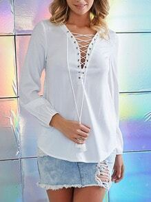 White Long Sleeve Tie Blouse