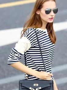Blue White Round Neck Striped Casual T-Shirt Tshirt