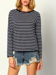 Long Sleeve Striped Blue T-shirt