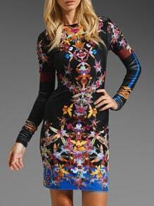 Long Sleeve Iridescent Florals Great Bodycon Dress