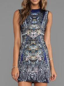 Sleeveless Printed Fitted Dress