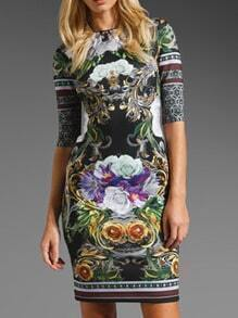 Round Neck Florals Fitted Dress