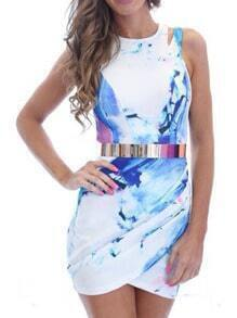 Ink Print Hollow Wraped Watercolor Dress