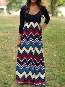 Scoop Neck Zigzag Maxi Colorblock Navy Dress