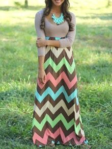 Color-block Scoop Neck Zigzag Iridescent Maxi Dress