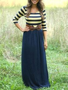 Scoop Neck Striped Maxi Navy Dress