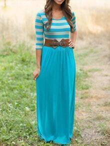 Bluish Scoop Neck Striped Maxi Blues Dress